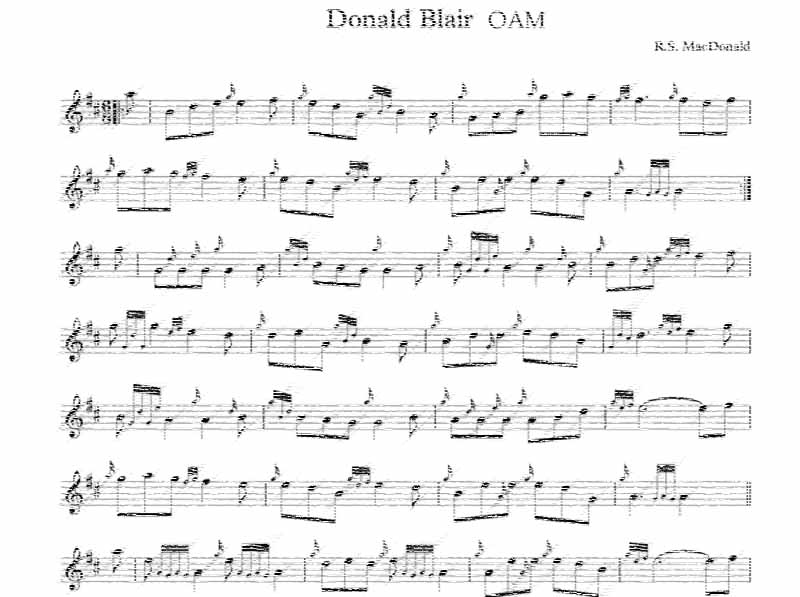 'Donald Blair OAM,' a brilliant new eight-part jig by R.S. MacDonald
